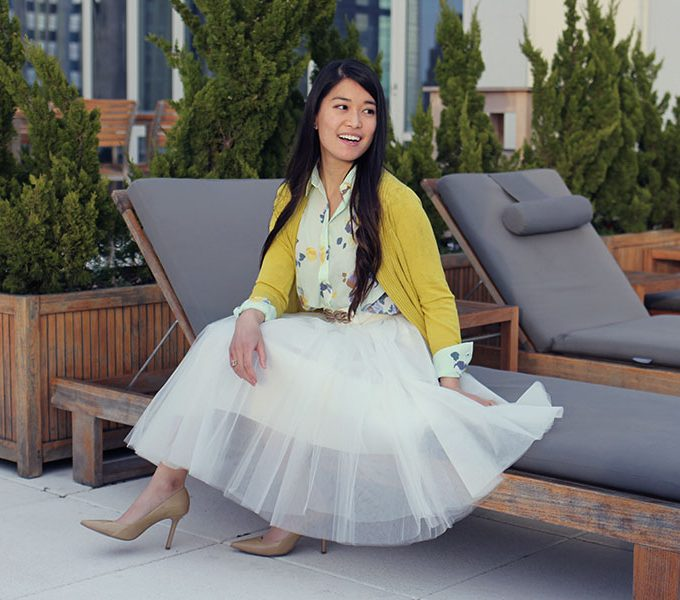Easter Outfit: Floral Blouse and Tulle Skirt